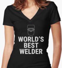 World's Best Welder Welding Mask T-shirt Women's Fitted V-Neck T-Shirt