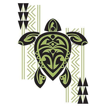 Black & Green Tribal Turtle Tattoo Warrior by srwdesign
