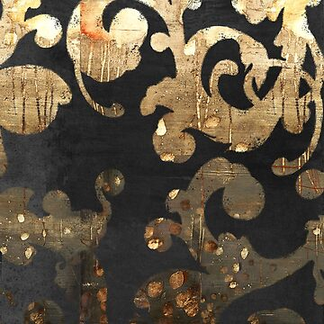 Urban French Damask Black and Gold Glam Grunge by Glimmersmith