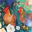 Chickens In The Rose Garden by Maria Pace-Wynters
