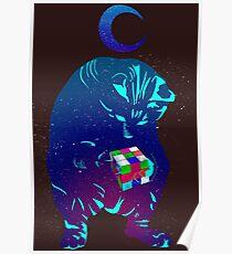 Rubik's cube cat Poster