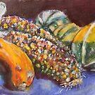 Indian corn with gourds by christine purtle