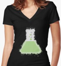 Flask beaker glowing Art Women's Fitted V-Neck T-Shirt