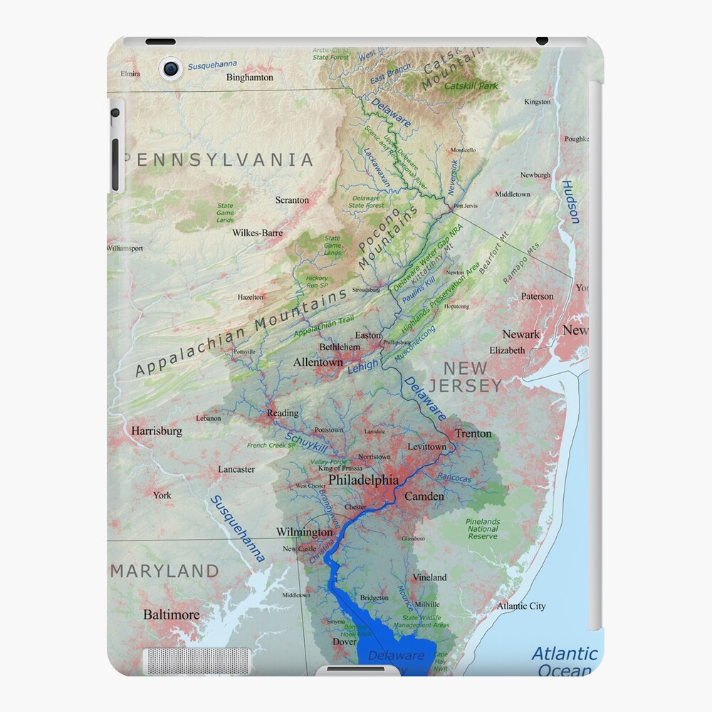 Map Of New York Rivers.Delaware River Watershed Map Labeled Ipad Case Skin