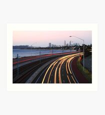 Kwinana Freeway Traffic At Dusk  Art Print