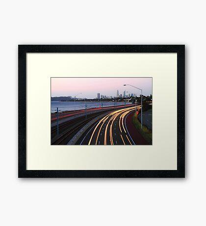 Kwinana Freeway Traffic At Dusk  Framed Print