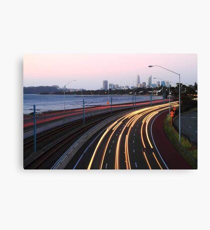 Kwinana Freeway Traffic At Dusk  Canvas Print