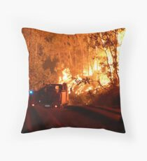 Driving into the Wildfire Throw Pillow