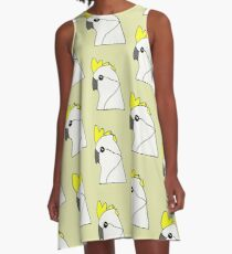 Yellow Crested Cockatoo A-Line Dress