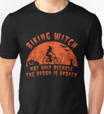Biking Witch Halloween Biking Couple  - Funny Cycling  Gift Slim Fit T-Shirt