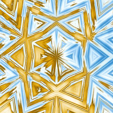 Bold abstract kaleidoscope in blue and beige by hereswendy