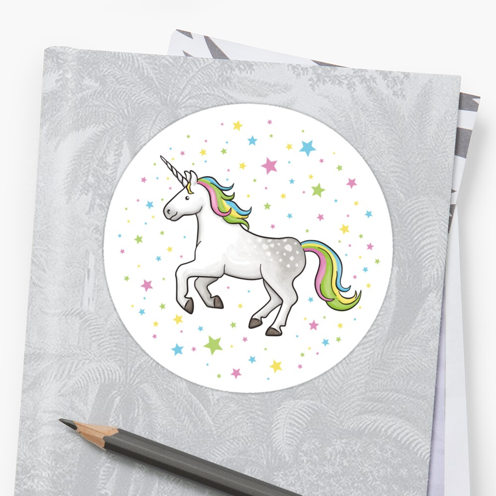 Unicorns and Stars - White and Rainbow scatter pattern by Hazel Fisher