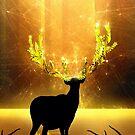 Magisches Rentier - Goldene Sonne von schwebewesen