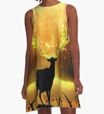 Magisches Rentier - Goldene Sonne A-Linien Kleid