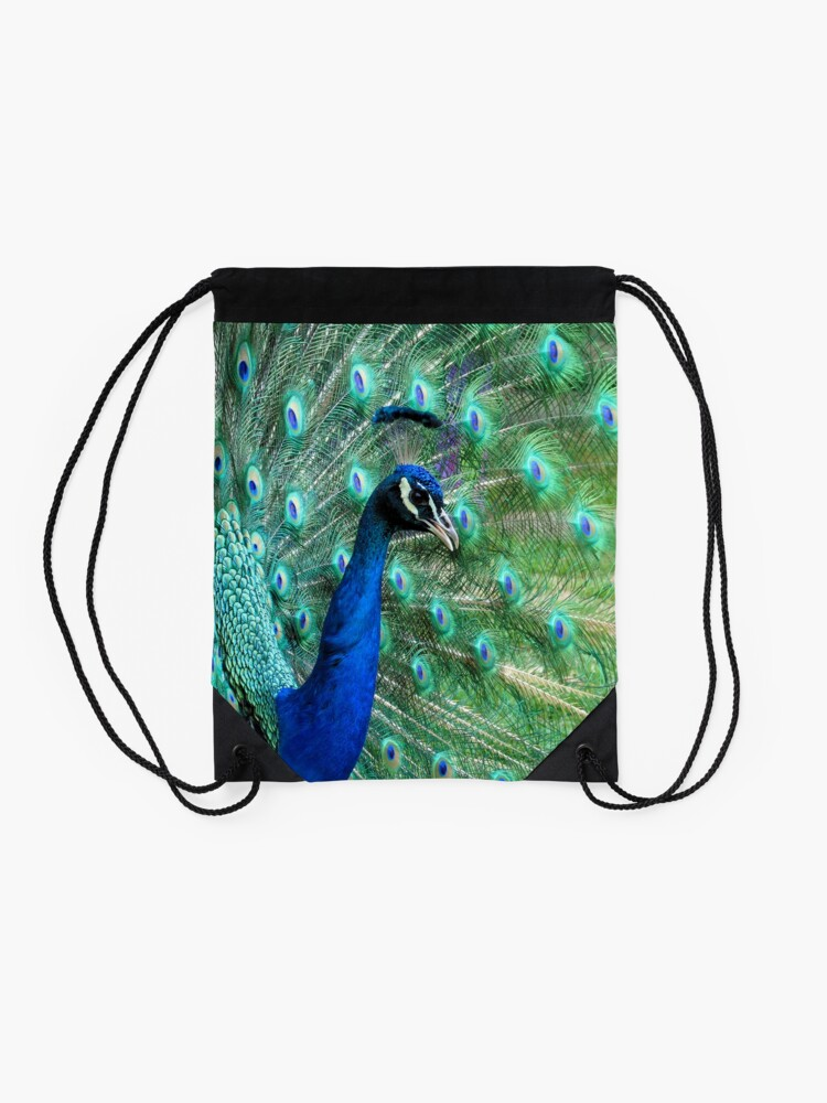 Alternate view of Peacock in bloom Drawstring Bag