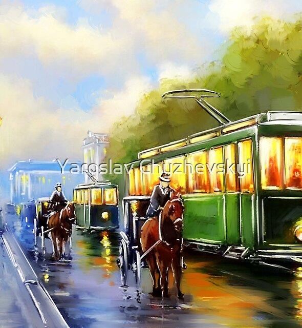 Tram. City landscape, digital paintings. Fine art. by Yaroslav Chyzhevskyi