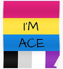 Panromantic Flag Asexual Flag Asexual I'm Ace T-Shirt Poster