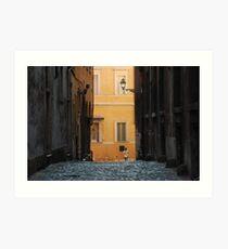 Orange Wall in a Roman Streetscape Art Print