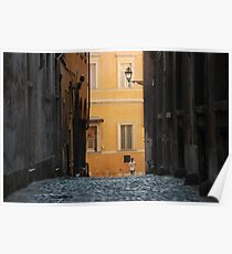 Orange Wall in a Roman Streetscape Poster