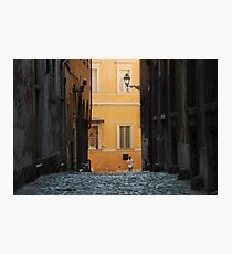 Orange Wall in a Roman Streetscape Photographic Print
