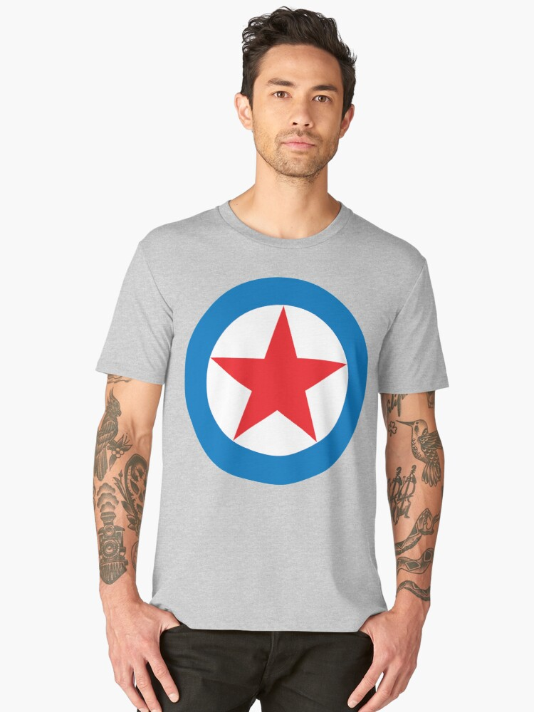 STAR, CIRCLE, SUPER STAR, Red Star, White Circle, Blue Outer Ring.  Men's Premium T-Shirt Front