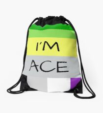 AROMANTIC FLAG ASEXUAL FLAG I'M ACE ASEXUAL T-SHIRT Drawstring Bag