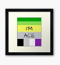 AROMANTIC FLAG ASEXUAL FLAG I'M ACE ASEXUAL T-SHIRT Framed Print