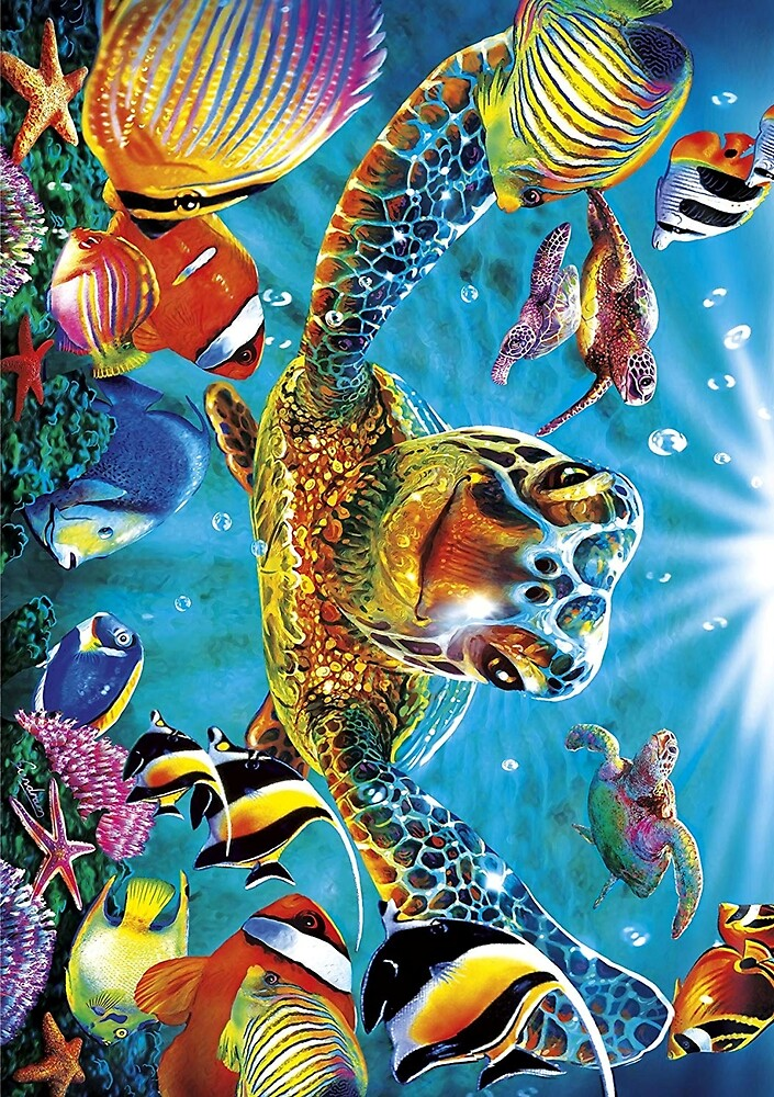 Animal Art Illustrations, Colorful Sea Turtle by Melody Koert