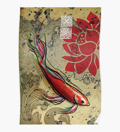 The Lucky Fish- Mixed Media Poster