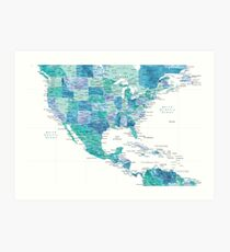 Map of the USA Mexico and the Caribbean Sea in watercolor Art Print