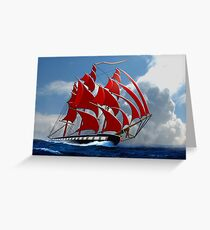 The Clipper Ship Indian Queen Races for Home Greeting Card