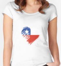 Grungy I Love Chile Heart Flag Women's Fitted Scoop T-Shirt