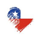 Grungy I Love Chile Heart Flag by stíobhart matulevicz