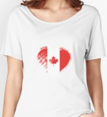 Grungy I Love Canada Heart Flag Women's Relaxed Fit T-Shirt