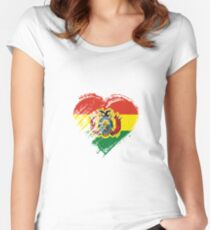 Grungy I Love Bolivia Heart Flag Women's Fitted Scoop T-Shirt