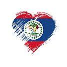 Grungy I Love Belize Heart Flag by stíobhart matulevicz