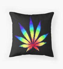 Rainbow Dope Leaf Throw Pillow