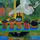 Cacti-gramophone - acrylic painting on canvas by Donata Zawadzka