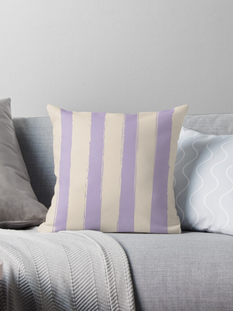 Rustic Brushed Stripes Pastel Cream-Violet by broadmeadow