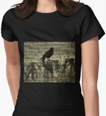 Crow Collage Womens Fitted T-Shirt