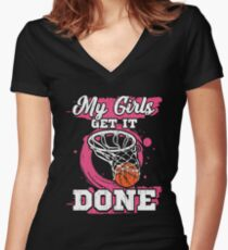 Basketball Coach My Girls Get It Done  Women's Fitted V-Neck T-Shirt