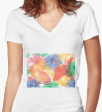 Hibiscuses Women's Fitted V-Neck T-Shirt