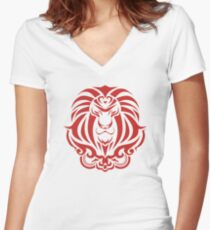 Zodiac Sign Leo Red Women's Fitted V-Neck T-Shirt