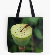 Dragonfly on a lotus Tote Bag