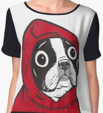 Boston Terrier in a Red Hoodie Chiffon Top