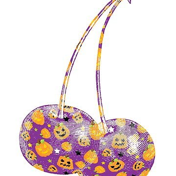 Cherry Fruit on Halloween Pumpkin Pattern by mousung