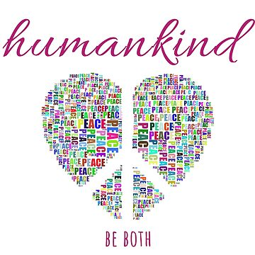 Heart Peace Sign Sticker Choose Kind Humankind Be Both Sticker Equality, Kindness, Notebook, Journal by nfarishta