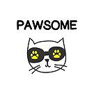 Cool Pawsome Awesome Cat Owner Paw Prints Color by TinyStarAmerica