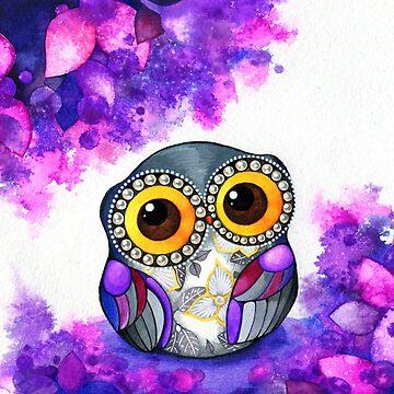 Owl in Purple Blossoms by ClearJadeStudio