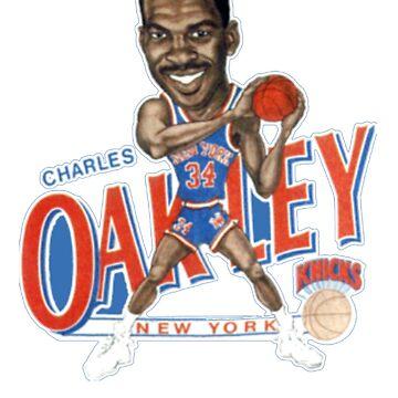 Charles Oakley New York Basketball Cartoon Worn T Shirt by NorthAmericaTs